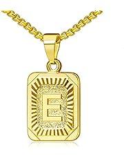 Cupimatch Kvinnor män bokstäver A-Z halsband, rostfritt stål fyrkantig form alfabet hänge halsband kedja med 56 cm vetekedja för män kvinnor, silverguld