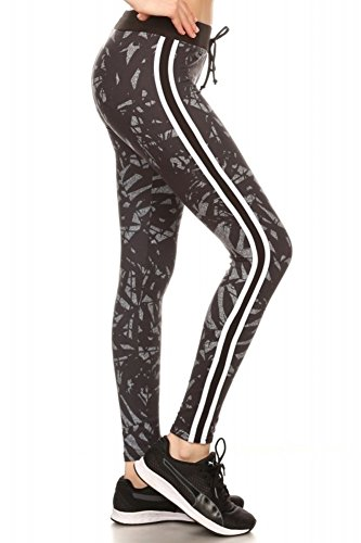 Super Soft Womens Joggers Pants with Pockets Track Bottoms Bush Striped Side Waist Tie Leggings Black Tropical X-Large