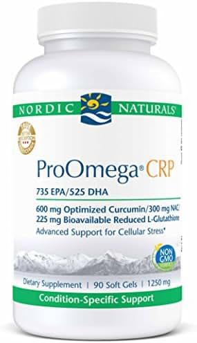 Nordic Naturals ProOmega CRP - 735 mg EPA, 525 mg DHA, Fish Oil, 600 mg Curcumin, 225 mg L-Gluathinone, 300 mg NAC, Advanced Support for Cellular Stress*, 90 Soft Gels