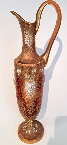 Very old antique Glass jar mug with handle, the amphora with applied plastic gold decor with glazien flowers, original Egermann, mouth-blown glass collectors, height 45 cm, widest point about 13 ()