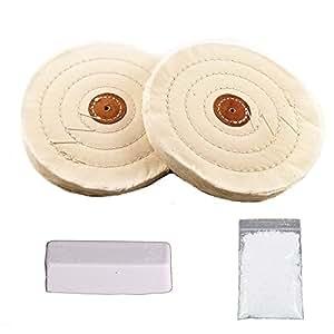 Spta 6 Cotton Bench Grinder Buffing Polish Wheel Set 2pc Long Life Stitching Fits