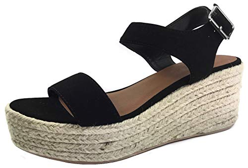 City Classified Women's Dress Sandal Chunky Heel Over Toe & Ankle Wrap Tie Front Strap Black 7.5
