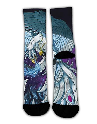 Performance Compression Comfort Fit Socks Gym Purple Starry Phoenix Bird Wings Art Athletic Socks Skiing Cushioned Crew Socks Moisture Wicking Ankle Sock Quick Dry Medium Socks (Best Workout For Bingo Wings)