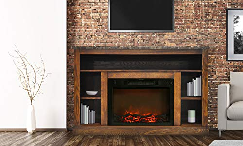 - Cambridge CAM5021-1WAL 47 In. Electric Fireplace with 1500W Charred Log Insert and A/V Storage Mantel in Walnut