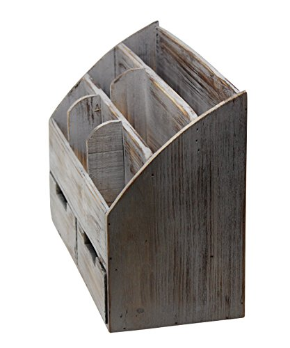 Vintage Rustic Wooden Office Desk Organizer Mail Rack For Desktop Tabletop Or Counter