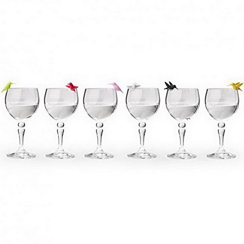 Wine Charms Hummingbird Glass Marker by Qualy Design Studio. Set of 6 Unusual Wine Glass Identifiers. Multicolor. Unique Bird Wine Glass Markers. -