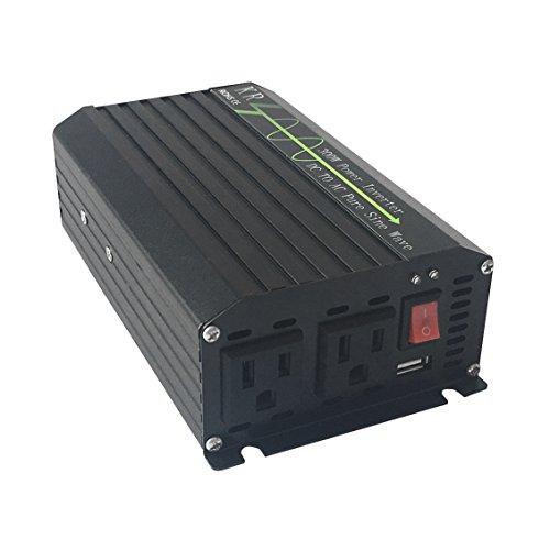 KRXNY 300W Car Power Inverter Converter Pure Sine Wave 12V DC to 110V 120V AC 60HZ With USB Port Dual US Output ()