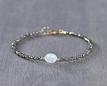 59ff204540f5 Pulsera de pirita y piedra lunar, plata de ley o chapada en oro ...