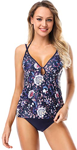 - ATTRACO Womens Tankini Set Halter Floral Keyhole Two Piece Swimsuit Black Medium