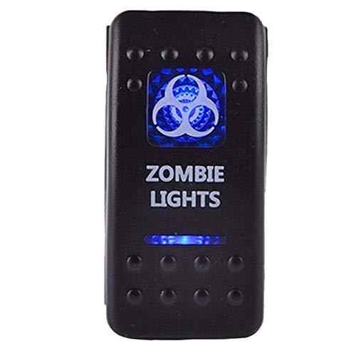 Fincos 12V 20A Bar Carling Bar Rocker Switch Blue LED Zombie Lighted Car Boat Sales - (Color: Blue Light)