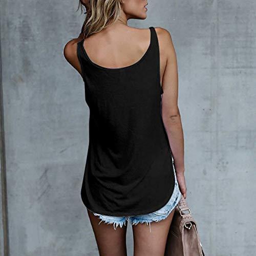 Camiseta Mujeres Cute Sexy Camisas Luckycat Top Negro Casual Strappy Blusa Letra Para Tops 2 Dama Cami Mangas Ropa Camisetas Sin Tank Impreso Chaleco aaAZ5q