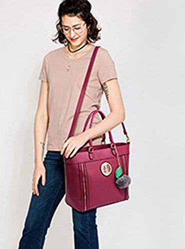 ANNA GRACE - Bolso de tela de piel sintética para mujer Design 1 : Purple