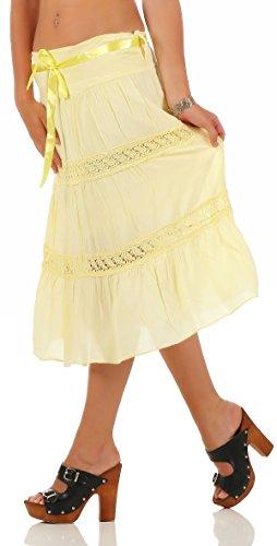 malito falda con cinturón de Satén verano tramo bordado 1460 Mujer Talla Única amarillo