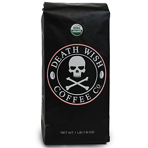 Death Wish Whole Bean Coffee The Worlds Strongest Coffee Fair Trade and USDA Certified Organic - 16 Ounce Bag