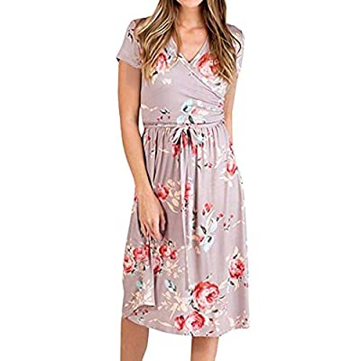 JustWin Summer Lightweight Short-Sleeved Printed Dress Fashion Dress V Neck Party Casual Short Beach Dress