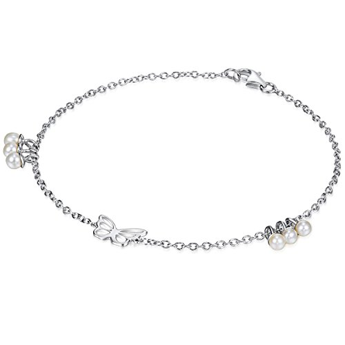 Chakra Pearls Bracelet Argent sterling papillon 17 cm 60310001