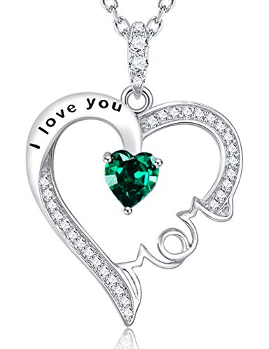Fine Gifts Jewelry for Mother Green Emerald Necklace ❤️ I Love You Mom ❤️ Sterling Silver Love Heart Pendant Fine Jewelry Birthday Gifts for Mom Wife