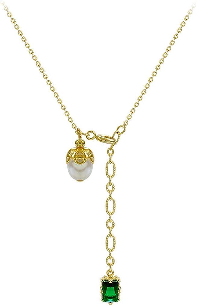 HAOYU Collar Colgante de Perlas de Piedras Preciosas Elegante Collar de afluencia de Cadena de clavícula Blanca