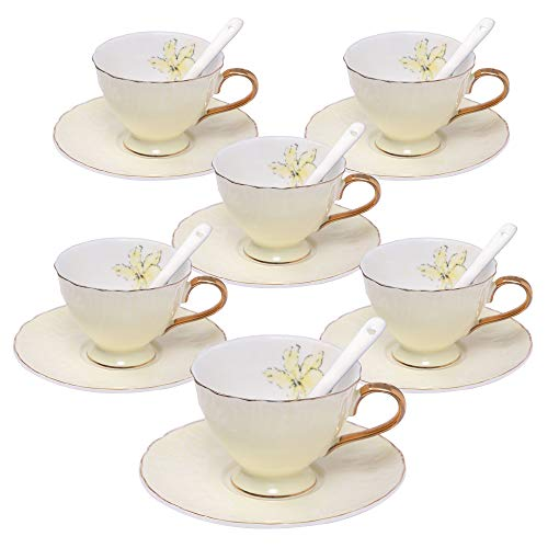 ufengke 4oz Coffee Cup Set,Small Capacity Porcelain Coffee Tea Sets,Set of 6 Ceramic Tea Cup and Saucer-Light Yellow -