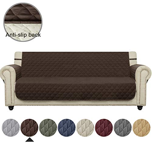 Ameritex Sofa Cover Waterproof Stay in Place, Furniture Protector, Sofa Slipcovers for Dogs (XL Sofa, Chocolate)