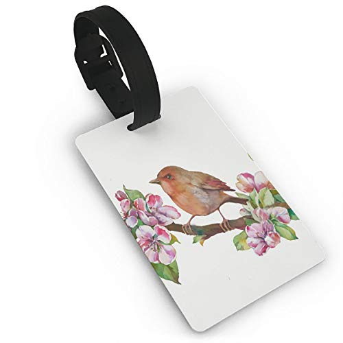 Luggage Tag Green Apple Birds And Flowers Watercolor On White With And Pink Color Drawing Elegant Floral By Frorezxc Travel Accessories Suitcase Tags Identifiers Business ID Tags Baggage Tags