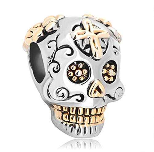 Fit Pandora Charms Silver Plated Skull Cross Silver Plated Dia De Los Muertos Beads