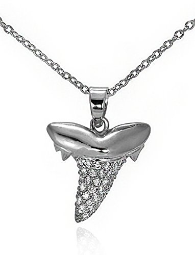 (GlitterLounge Shark Tooth Pave CZ Pendant Necklace .925 Sterling Silver 16)