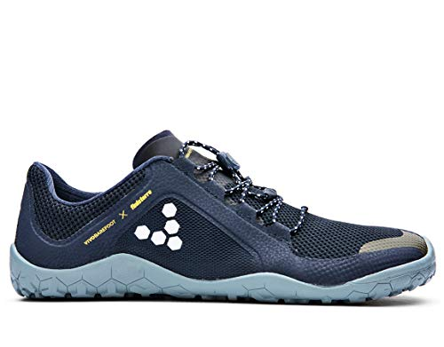 vivobarefoot Primus Trail Fg, Womens Recycled Breathable Mesh Off-Road Shoe with Barefoot Firm Ground Sole Navy