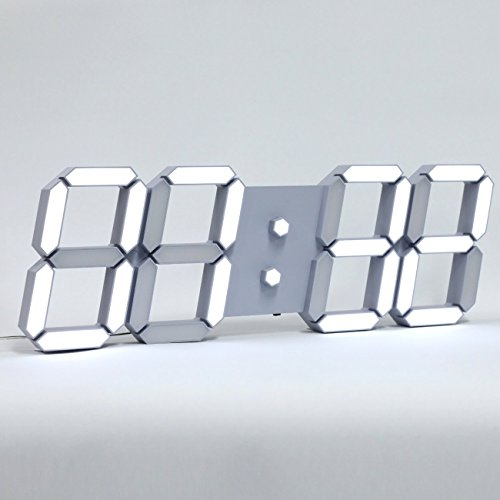 ROIRETNI Modern LED Digital Wall Clock PLUS+ with Thermometer, Calendar, Alarm, Countdown, Timer (Grey/Cable 21.6ft) by ROIRETNI INTERIOR