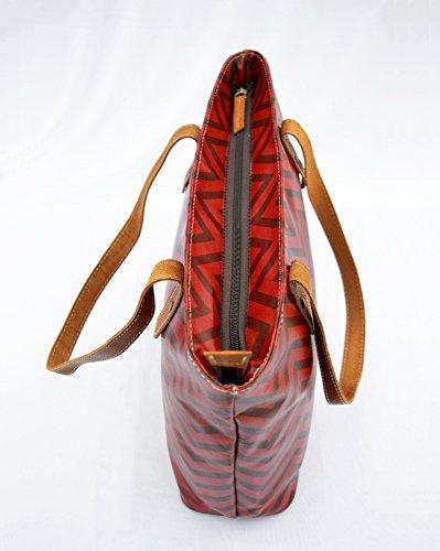 Rosso laminato Tote bag, cotone, stampa chevron, finitura lucida, finiture in pelle, chiusura zip, Everyday bag.