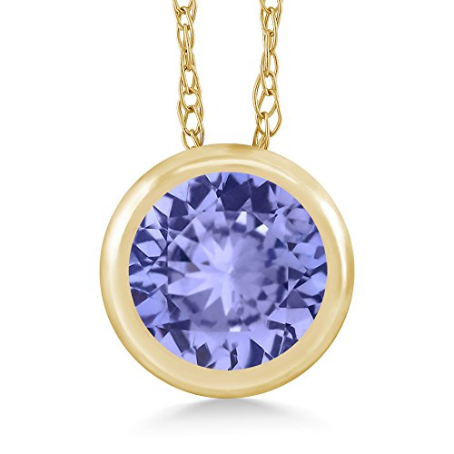 Gem Stone King 0.46 Ct Round Blue Tanzanite 14K Yellow Gold Pendant With Chain