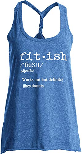 (IRISGOD Womens Workout Tank Tops Summer Graphic Twisted Back Gym Sleeveless Tshirt Tops Sky Blue)