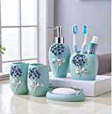 Toothbrush Holder - Bathroom Supplies European Fashion Resin Bathroom Suit Resin Five Pieces/Toothbrush Holder soap Dish Bathroom Accessories