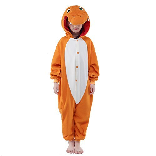NEWCOSPLAY Halloween Unisex Animal Pyjamas Child Cosplay Costume (115, Charmander) -