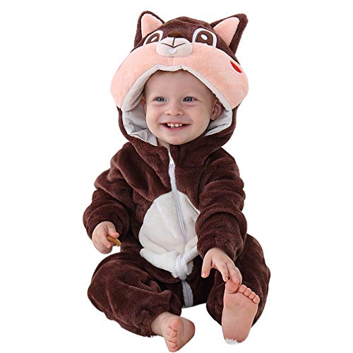 Baby Squirrel Costume (IDGIRL Baby Costume, Animal Romper for Infant Winter Flannel Outfits 3-6 Months)