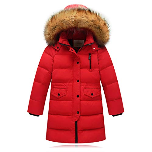Fineser Kids Girls Boys Long Sleeve Pockets Winter Faux Fur Hooded Parka Down Jacket Coat Puffer Padded Overcoat 2-12Y (Red, 11-12 Years(160)) -