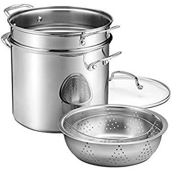 Cuisinart 12 quart Stockpot with Cover Pasta Insert and Steamer Basket, Stainless Steel