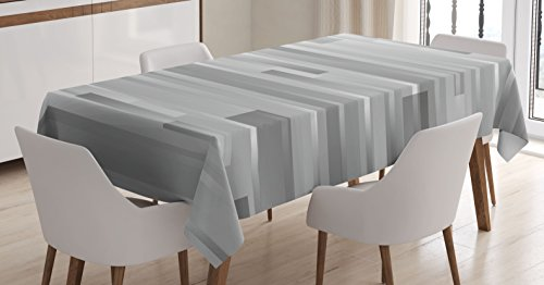 Dining Modern Rectangular Table (Ambesonne Modern Decor Tablecloth, Futuristic Striped Web Forms Artistic Contemporary Graphic Fusion Artwork, Dining Room Kitchen Rectangular Table Cover, 60 W X 84 L inches, Silver Grey)
