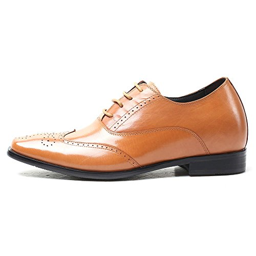 height 2 X91M03A Elevator 76inches Classic Taller Increase Leather Shoes Men CHAMARIPA Brown Dress Shoes dOITcw1q