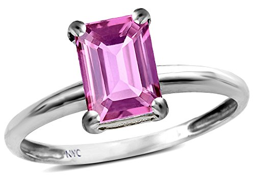 - Star K Classic Octagon Emerald Cut 8x6mm Created Pink Sapphire Solitaire Engagement Promise Ring 14k White Gold Size 7