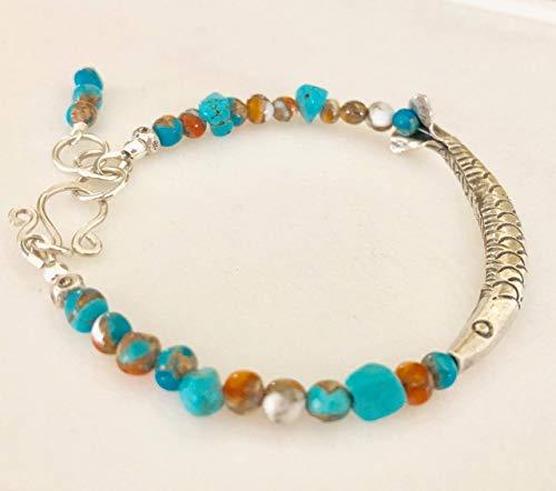 Fine Silver Fish Bracelet, Karen Hill Tribe Silver, Kingman Turquoise Gemstone, Spiny Oyster Shell Turquoise, Arizona Turquoise, Sterling Silver.