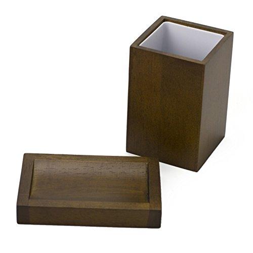 Gedy PA511-31 Papiro Wood Soap Dish and Tumbler Set, Brown