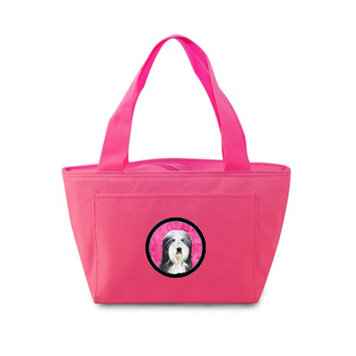 Caroline's Treasures SS4773-PK Bearded Collie Lunch or Doggie Bag, Large, Pink