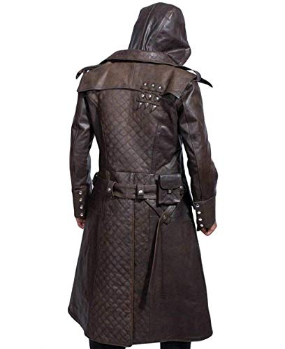 Assassins Creed Syndicate Ninja Jacob Frye Jacket Brown Leather Trench Coat (X-Small)