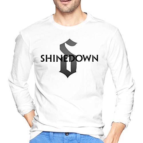 MarshallD Men's Shinedown Cotton Long Sleeve T-Shirts White L