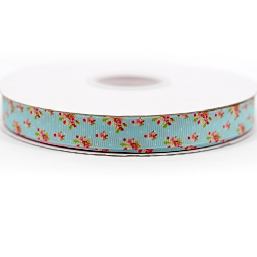 Floral Deco Print - Midi Ribbon Retro Floral Pattern Print Deco Grosgrain Ribbon-3/8