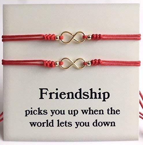 Love and Friendship Matching Bracelets for Best Friends Set of 2 Red String Bracelet