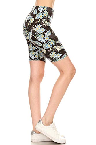 Apparel Azure - LBK-S747-L Azure Leaf Printed Biker Shorts, Large