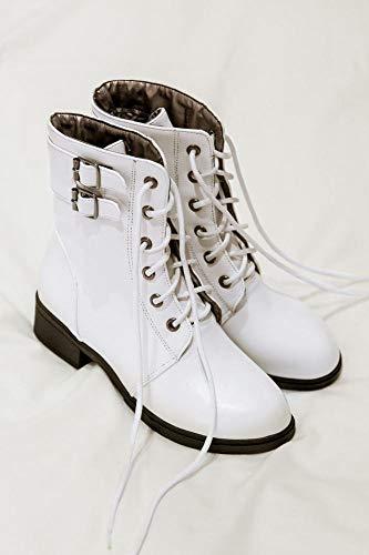 Cordones Gran Zapatos Botas Bajo Mujer Wsr Blanco Mujer Para Tacón Invierno Más Terciopelo Martin Otoño De E Cortas Tamaño Con wZZ7Wa6nqd
