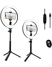"""Ring Light with Stand, JINSE 10"""" Dimmable Desktop LED Ring Light with Adjustable Tripod for Makeup/Live Streaming/Video Shooting/Zoom Meetings/YouTube"""